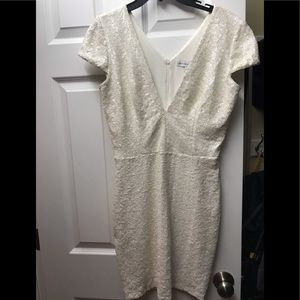Sequin V-Neck Cap-Sleeve Sheath Dress